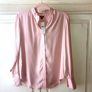 Ann Taylor Blouse with Ruffle Collar Sleeves